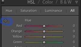 painel de cores do lightroom