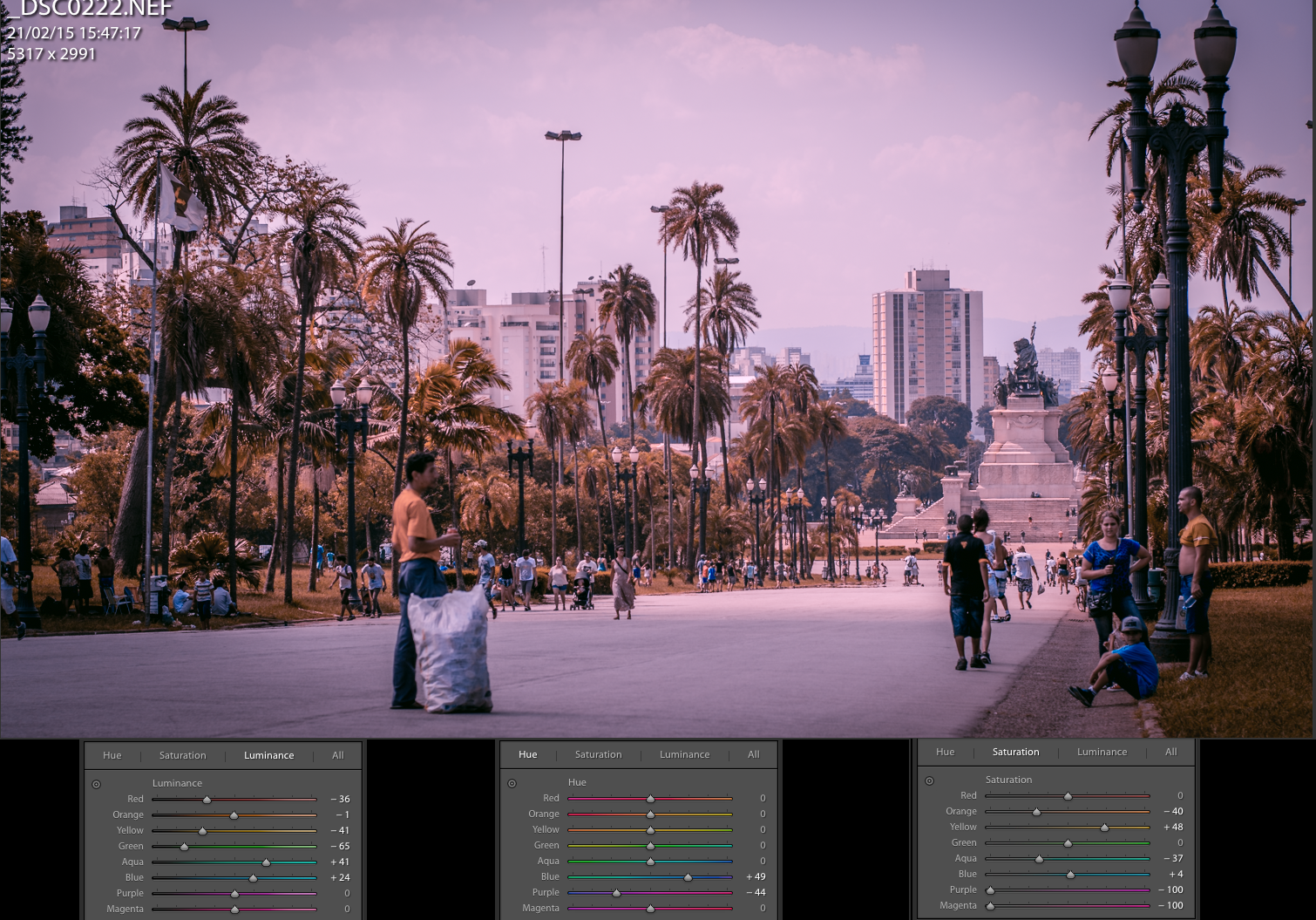 Lightroom cores e presets